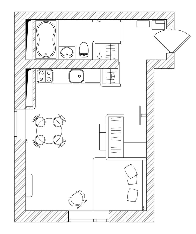 Малък цветен апартамент план