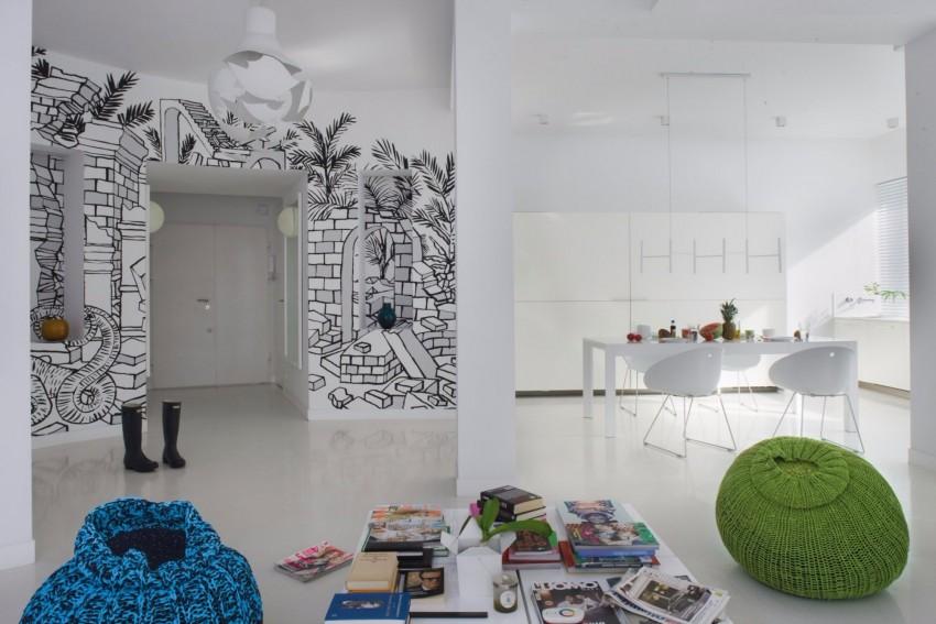 апартамент в бяло с артистична стена - 1