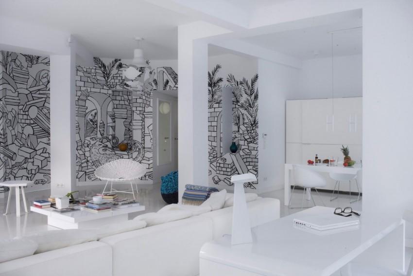 апартамент в бяло с артистична стена - 11