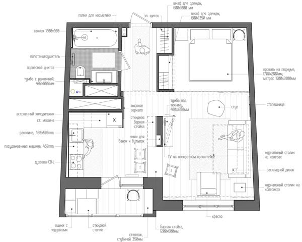 малък апартамент на 4 зони - 14