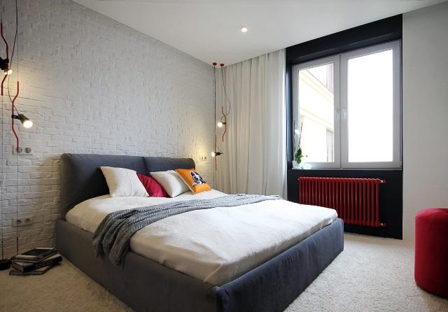 черно-бял апартамент с червени акценти - 13