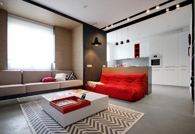 черно-бял апартамент с червени акценти - 2