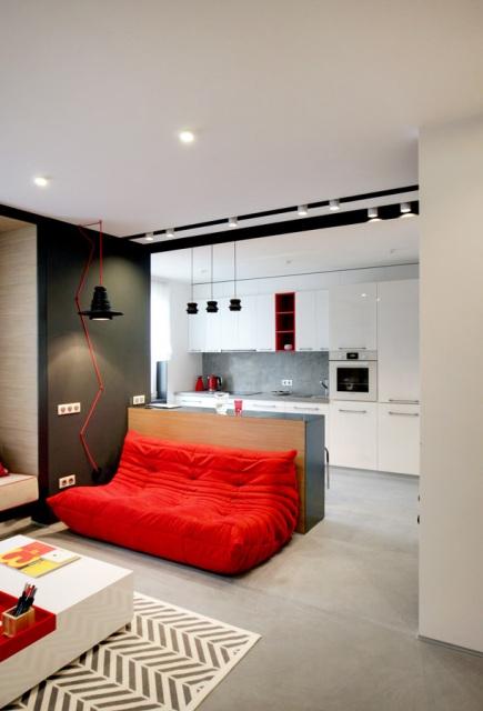 черно-бял апартамент с червени акценти - 3
