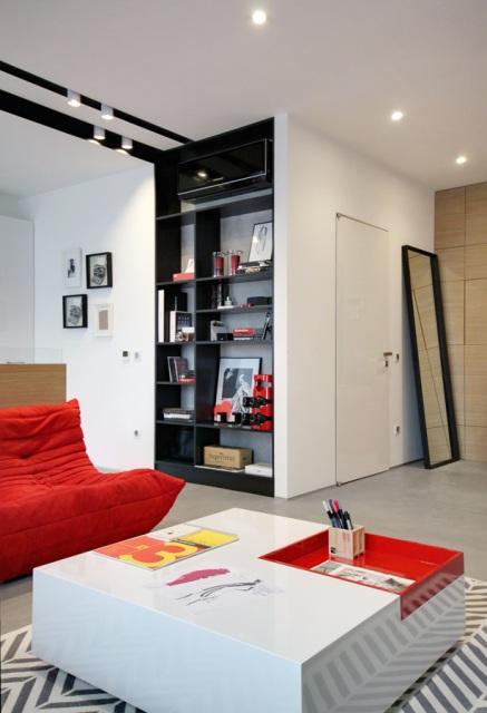 черно-бял апартамент с червени акценти - 5