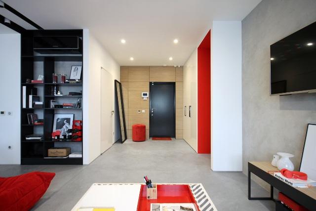 черно-бял апартамент с червени акценти - 6