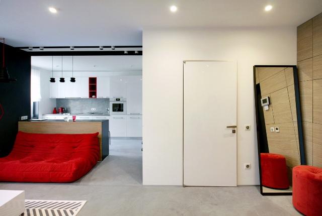 черно-бял апартамент с червени акценти - 7