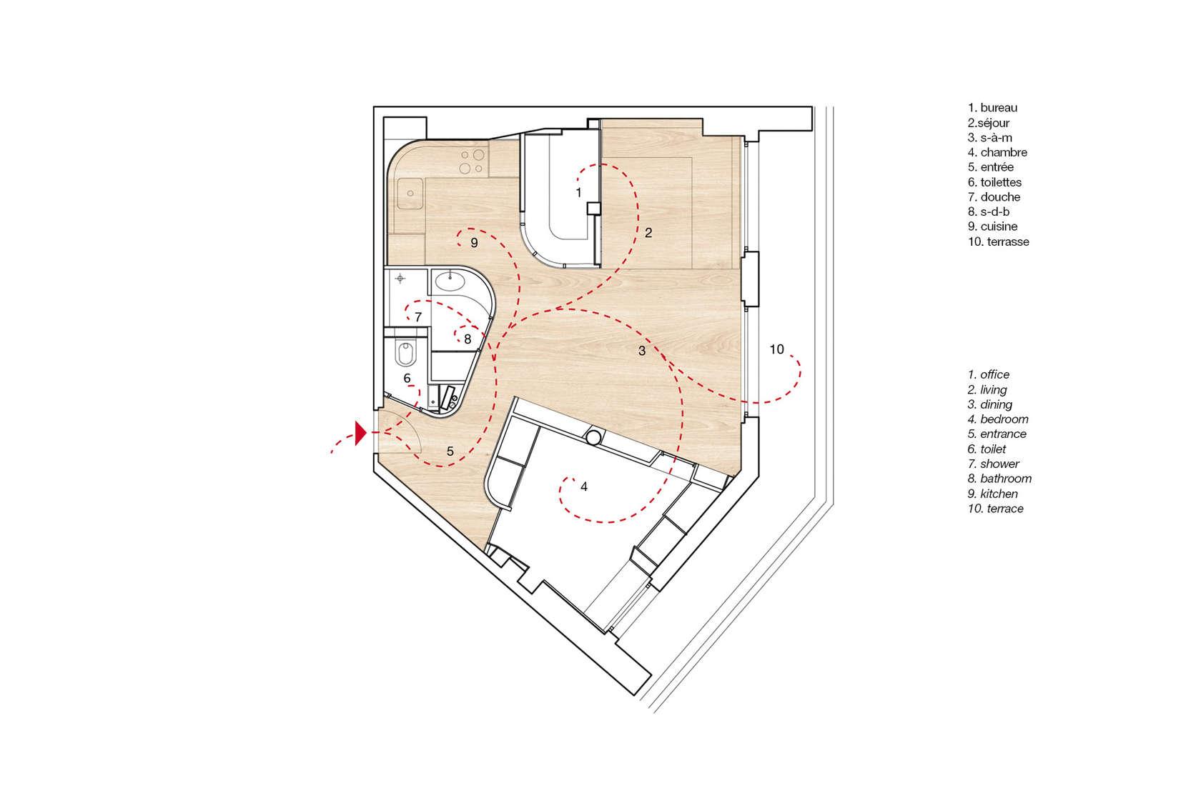 Апартамент със заоблени стени и интересно разположение - план стаи