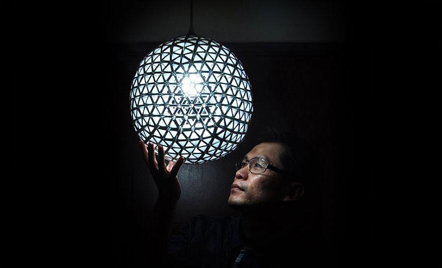 лампа от картонени кутии 4