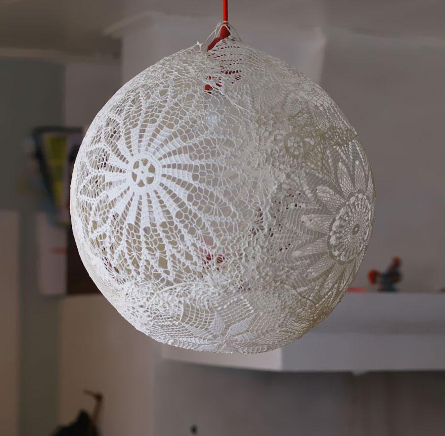лампа от плетена покривка 2
