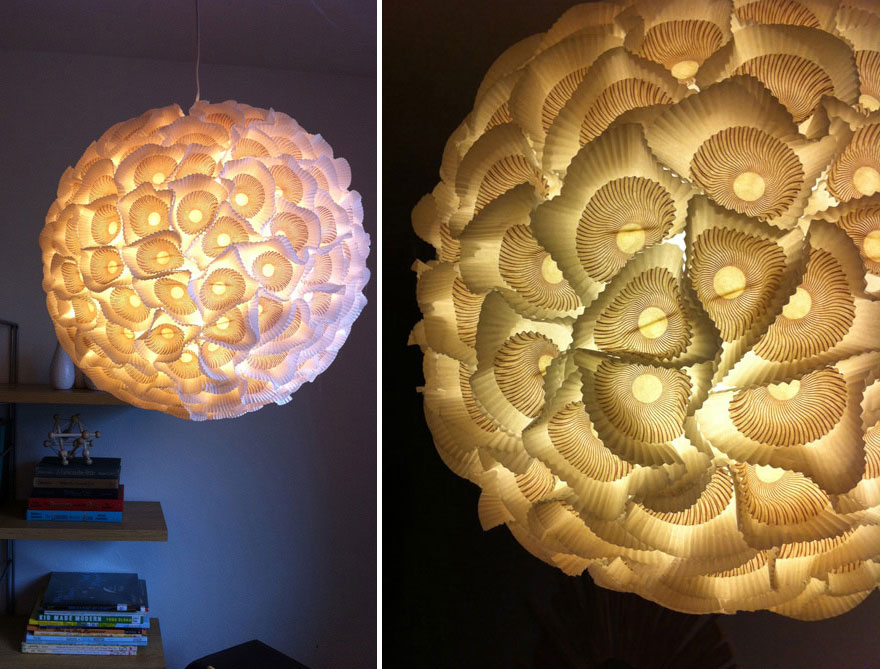 лампа от хартиени формички - 2