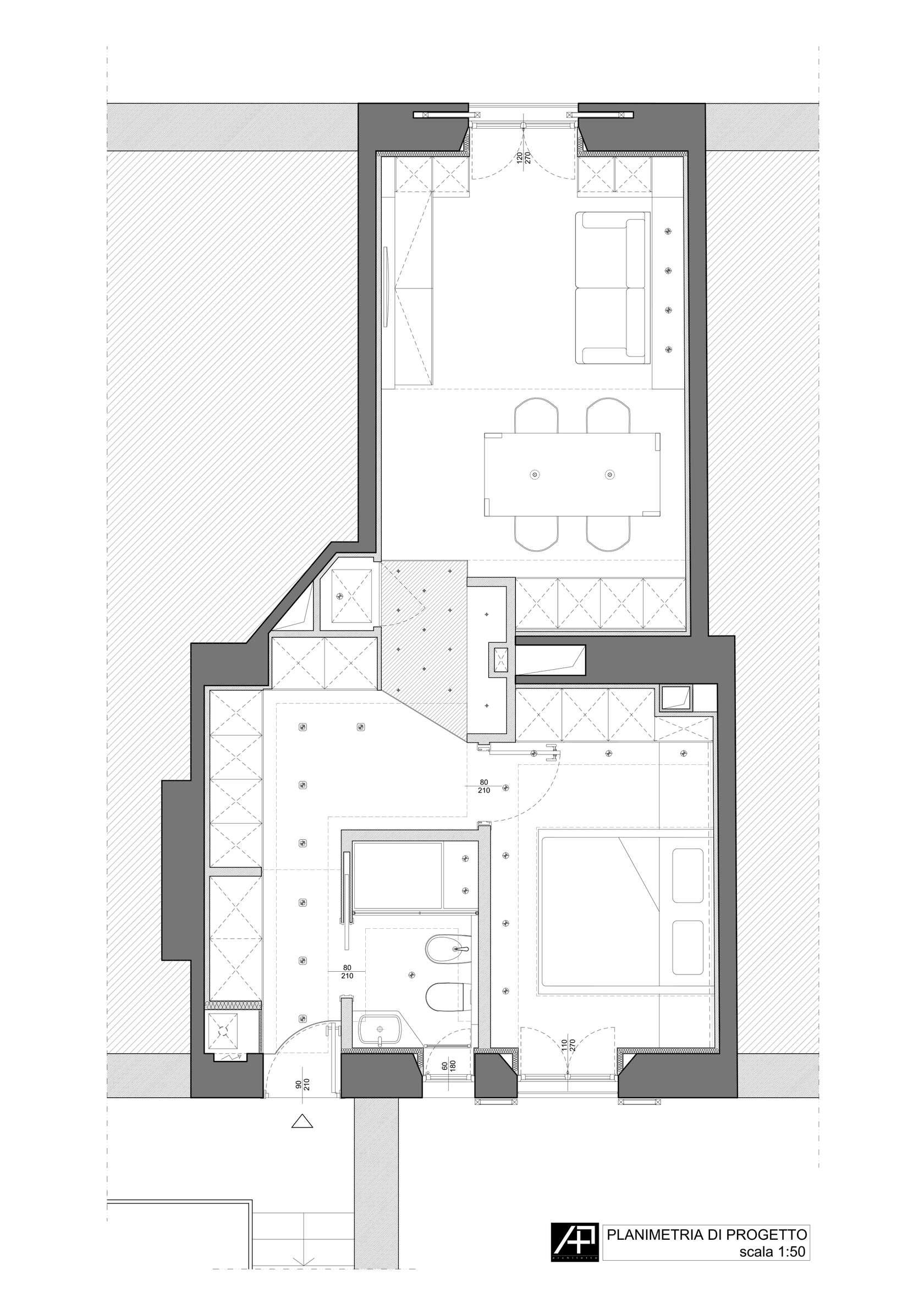 малък апартамент в минималистичен стил - план