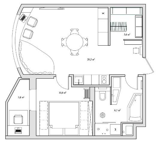 малък апартамент с бетонни стени - 21