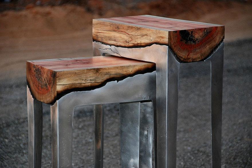 алуминий и дърво маса