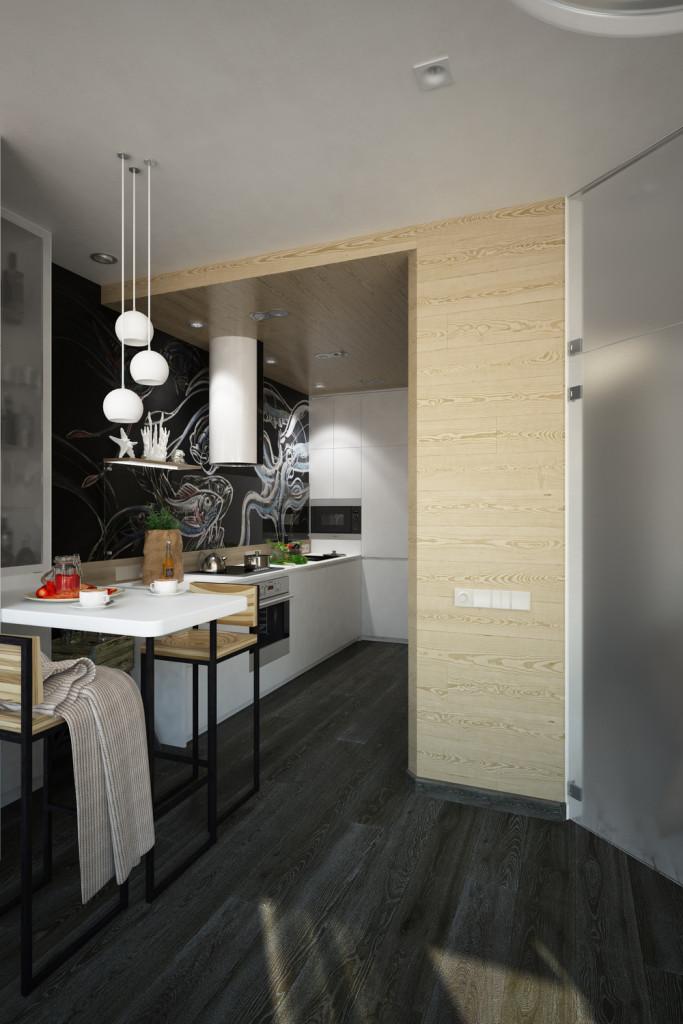 малък апартамент с интересна кухня - 10