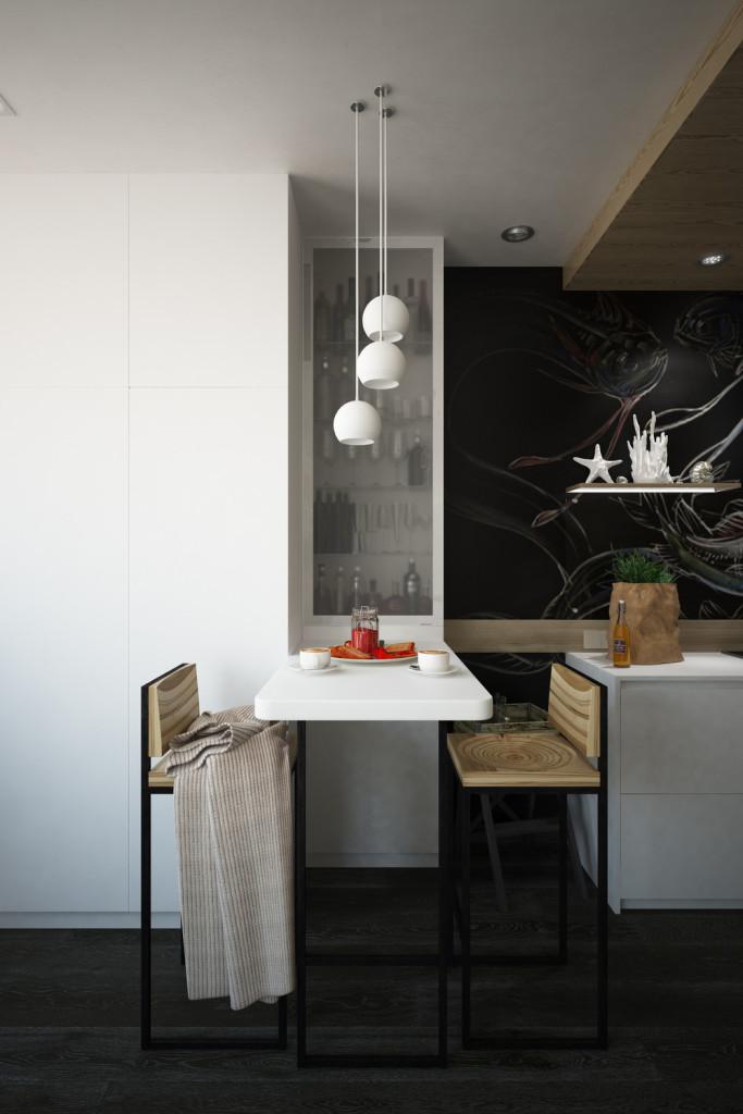 малък апартамент с интересна кухня - 11