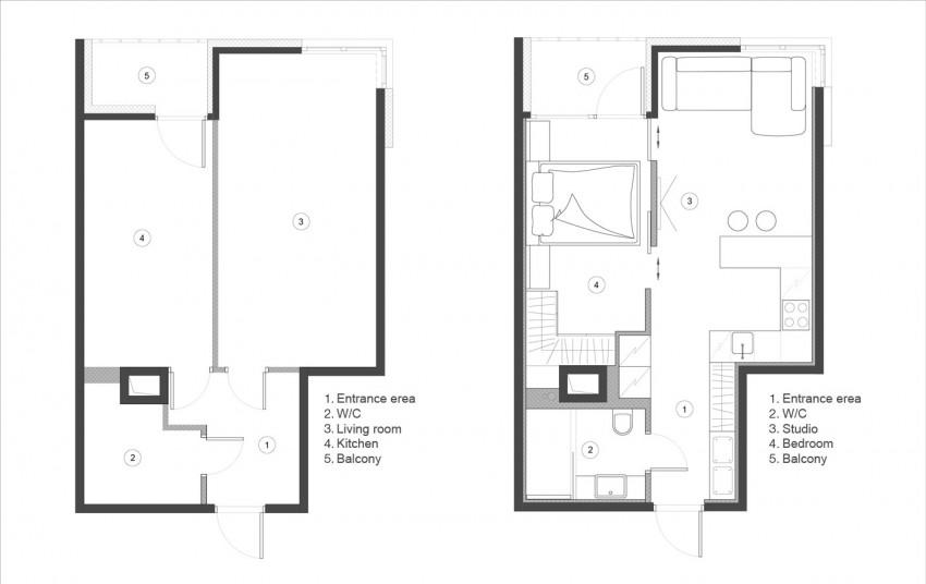 практично и семпло 48 кв. м жилище - разпределение
