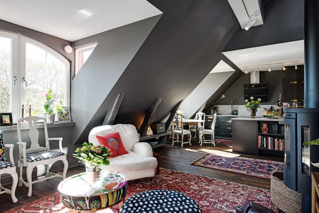 скандинавски апартамент с тъмни стени - 10