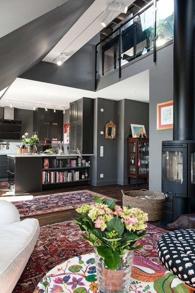 скандинавски апартамент с тъмни стени - 12