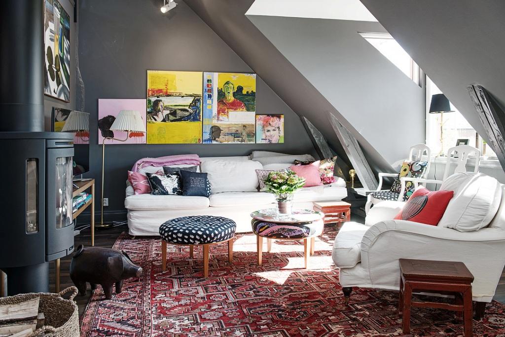 скандинавски апартамент с тъмни стени - 13