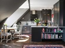 скандинавски апартамент с тъмни стени - 2