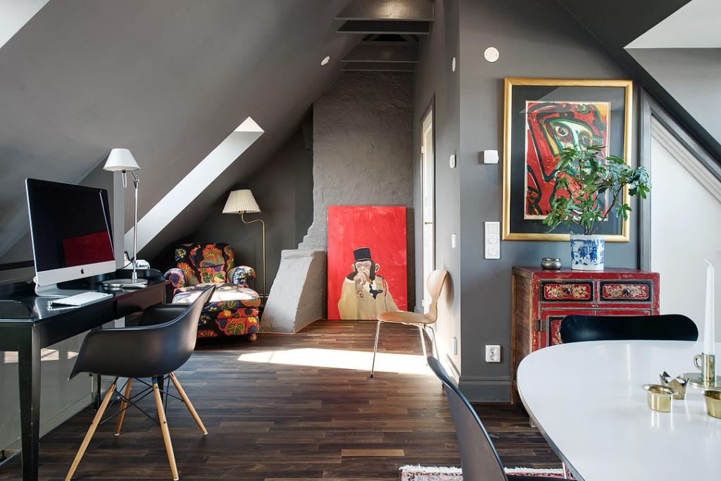 скандинавски апартамент с тъмни стени - 30
