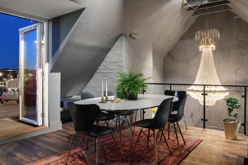 скандинавски апартамент с тъмни стени - 40