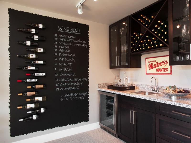 черна стена за писане в кухнята