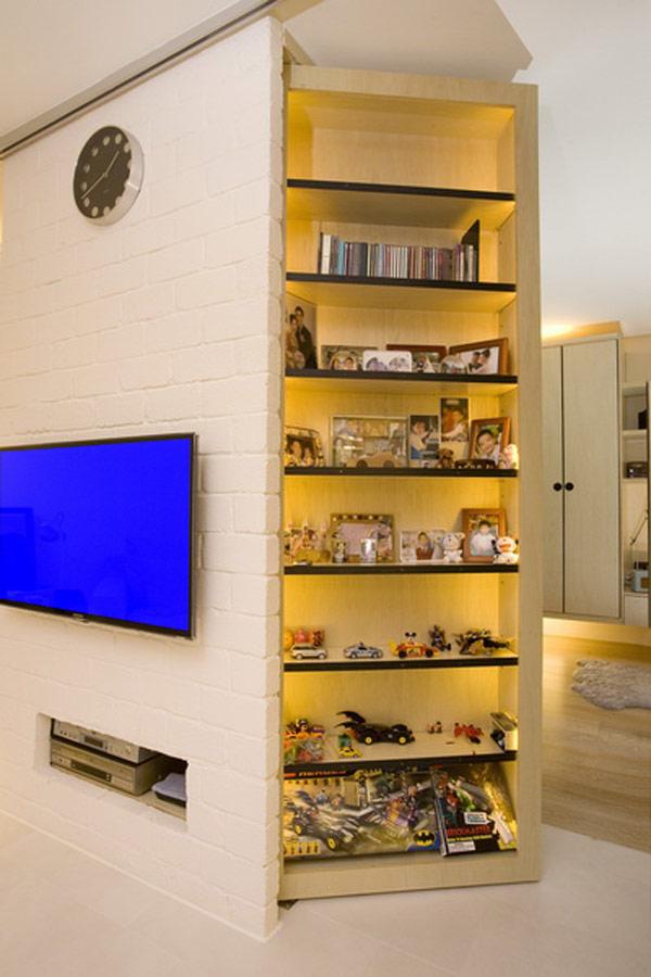 Гениални решения в уютния 39 кв. м апартамент_рафтове със осветление_1