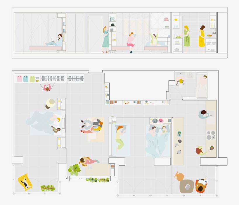 от студио в апартамент с три спални_план с две спални