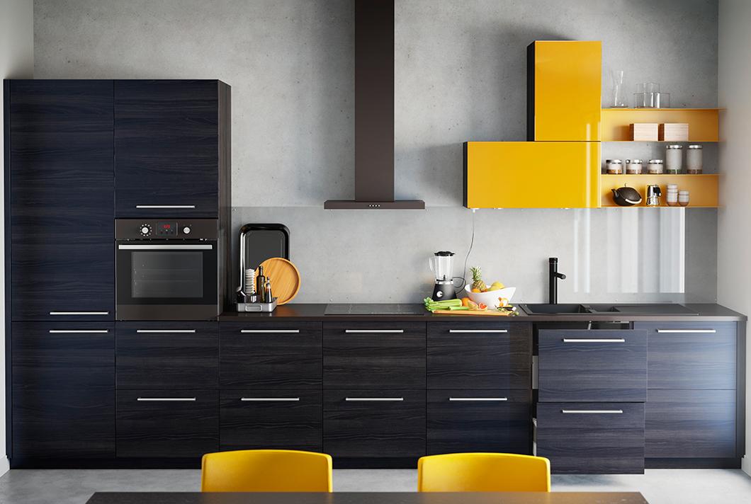 ikea кухня тъмно и оранжево
