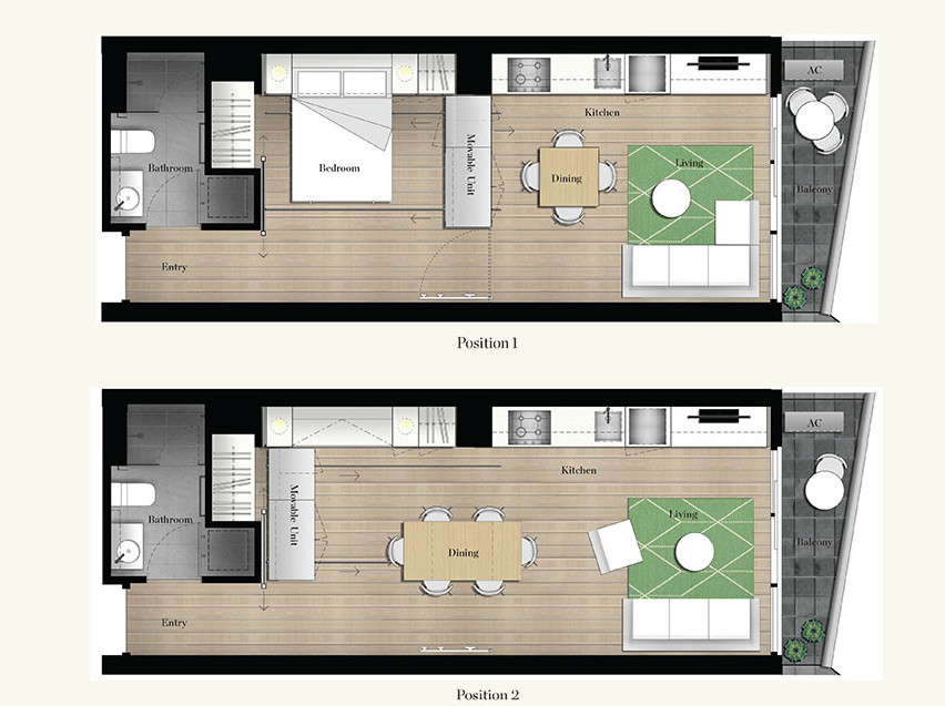 лускозен малък апартамент с повдижни стени_план