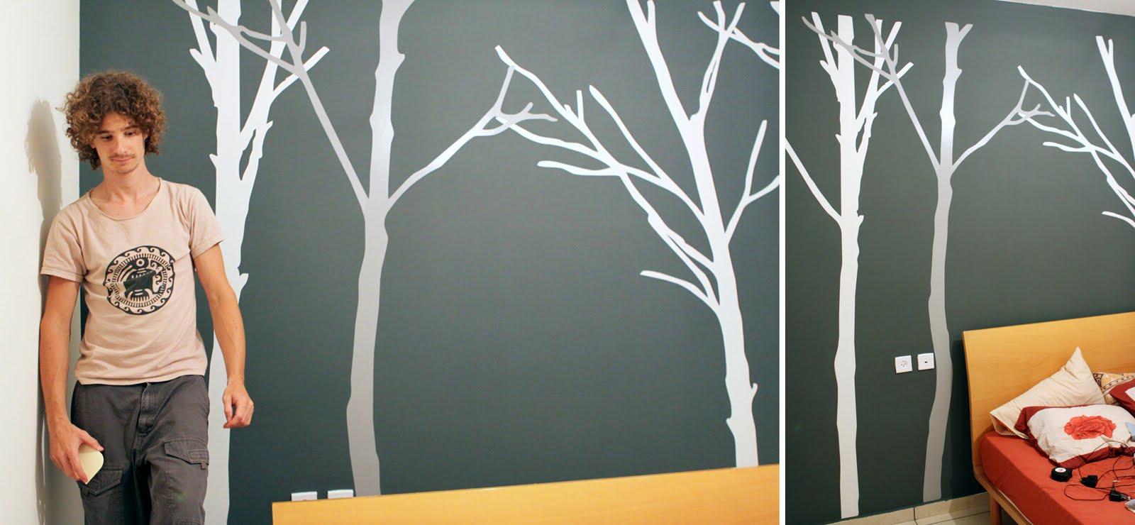 акцентна стена - дървета