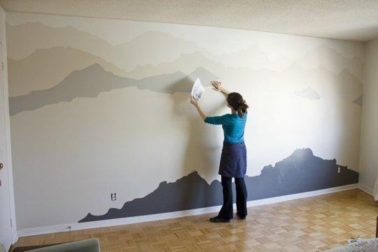 акцентна стена - нарисувани планини 2