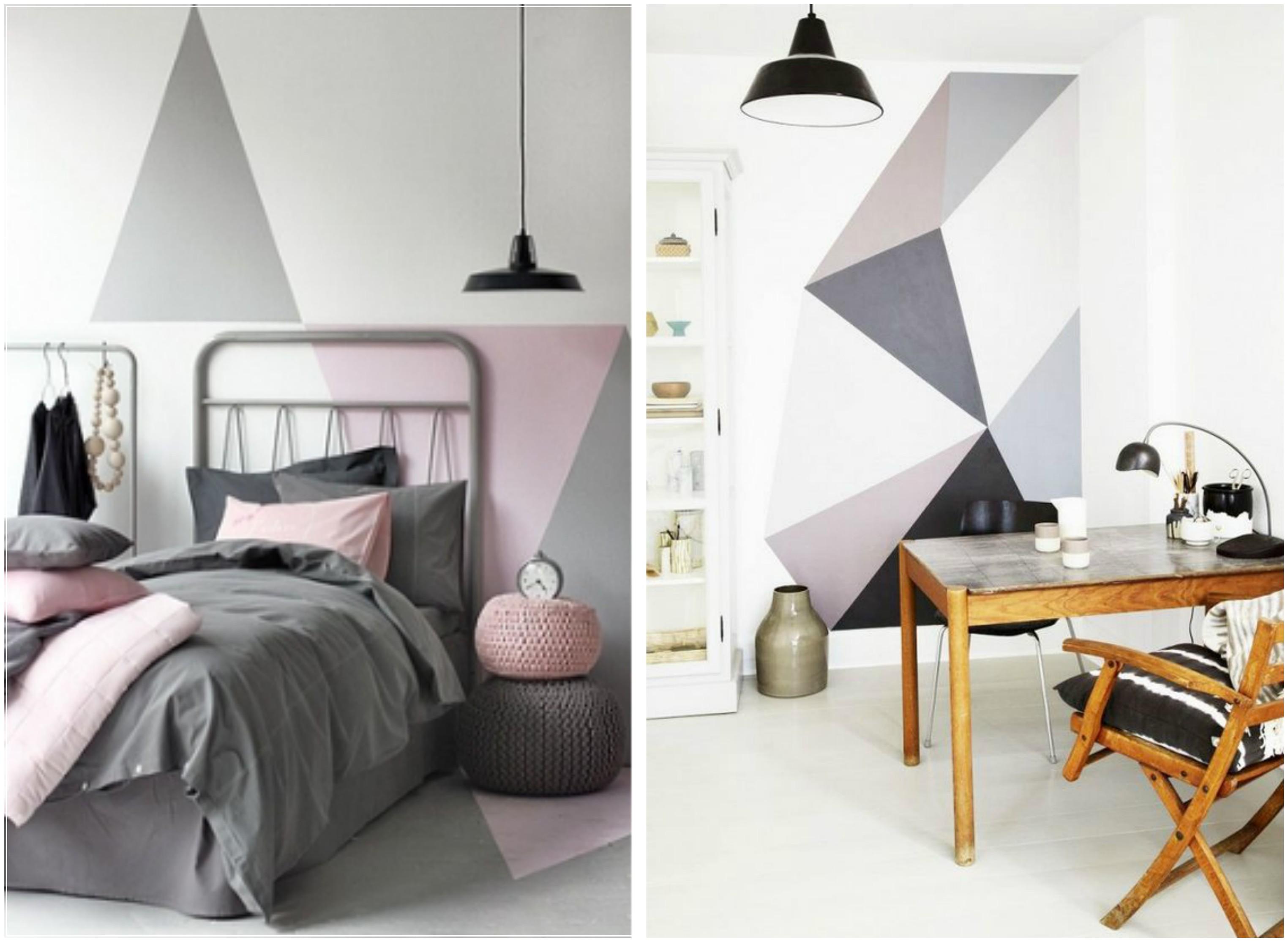 акцентна стена - триъгълници