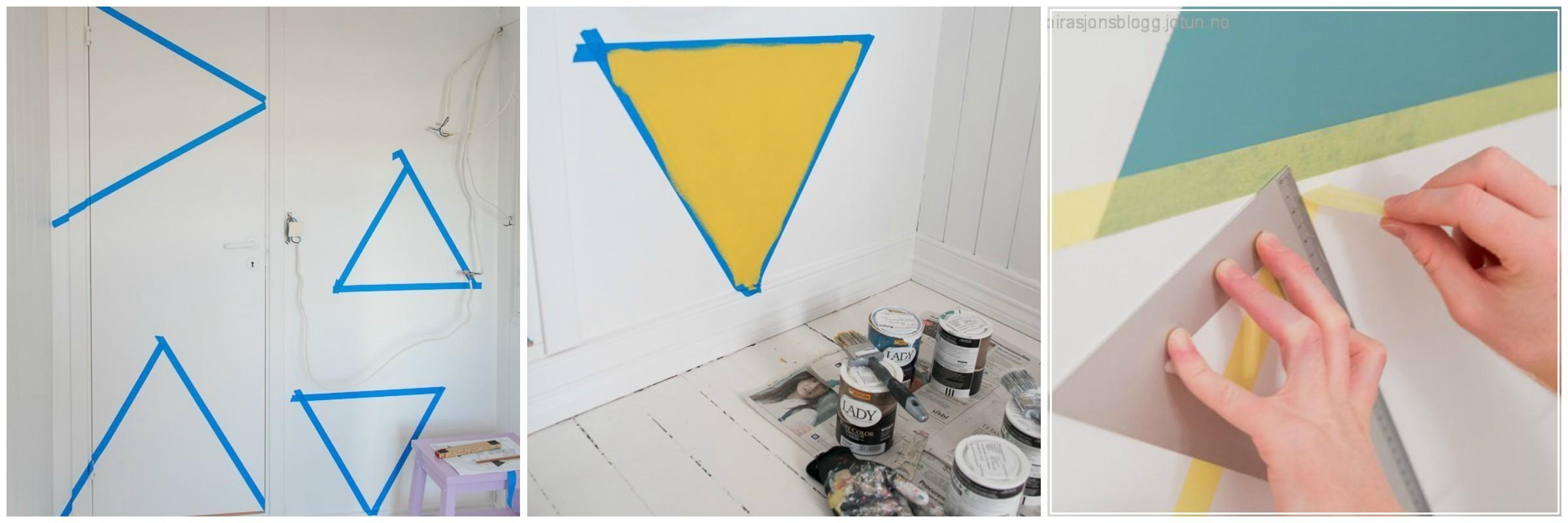 акцентна стена - цветни триъгълници 2