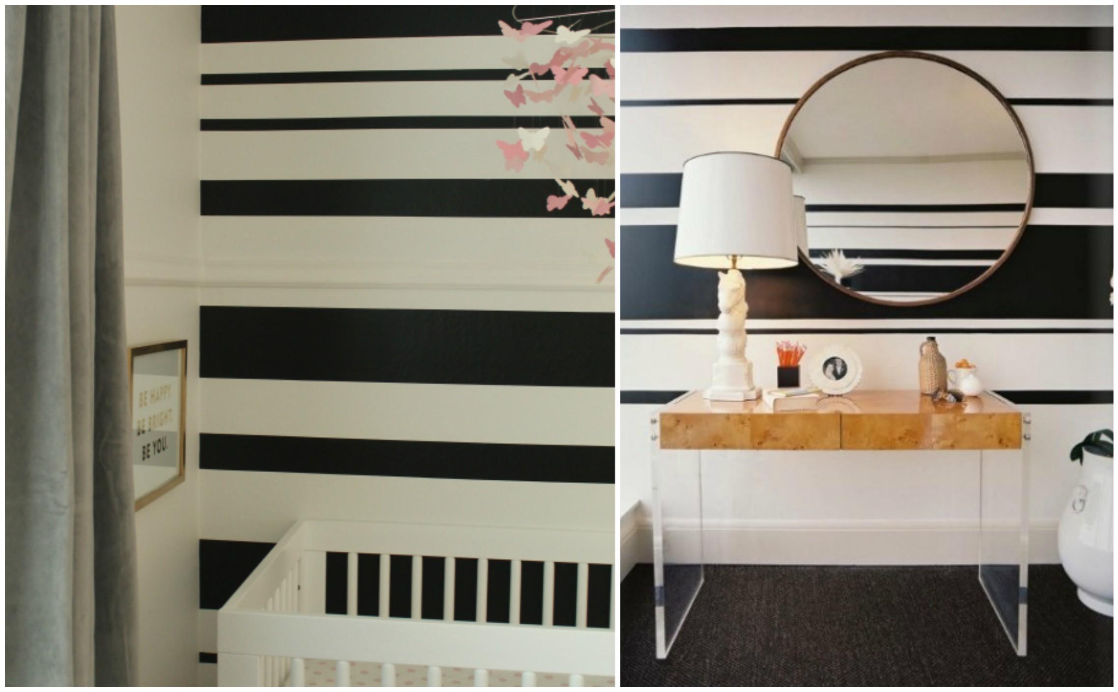 акцентна стена - черно-бели линии