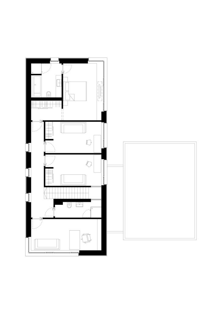 двуетажна къща с изчистен, цветен интериор_разпределение_етаж2
