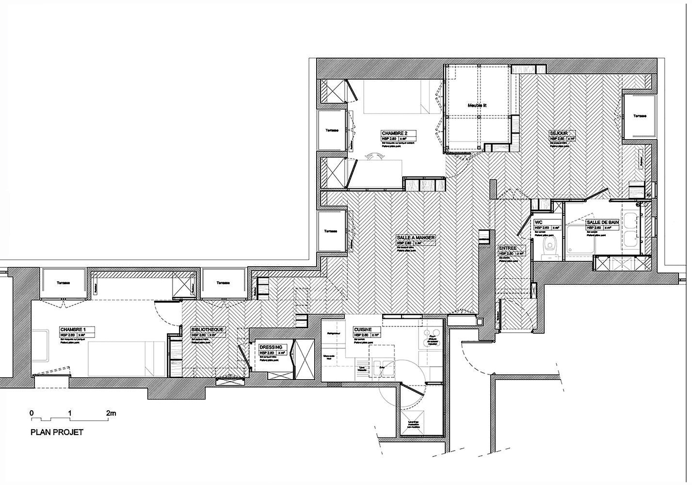 етажерки с книги като прегради в апартамент_план след