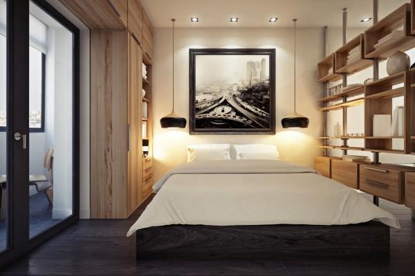 малко студио с дървена преграда от шкафове_1