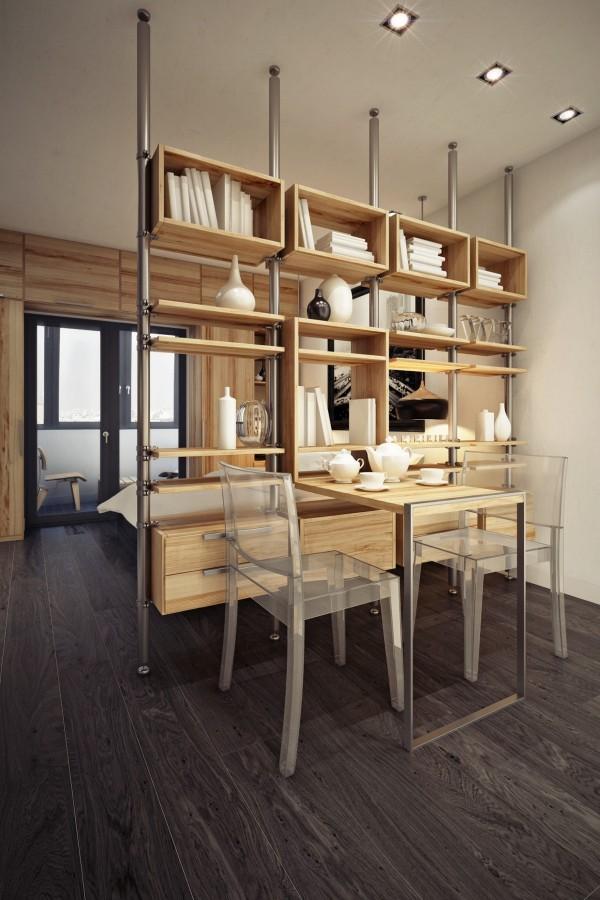 малко студио с дървена преграда от шкафове_4