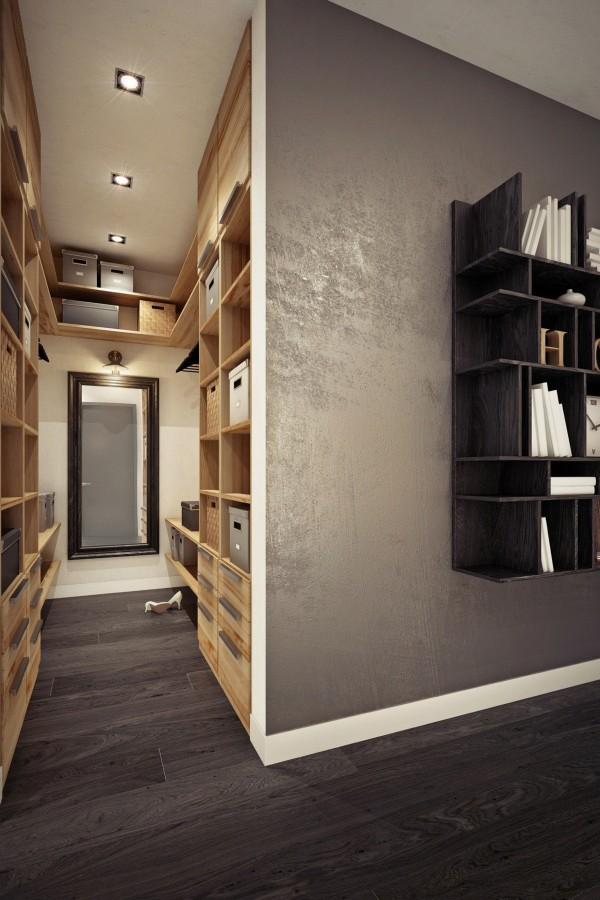 малко студио с дървена преграда от шкафове_5