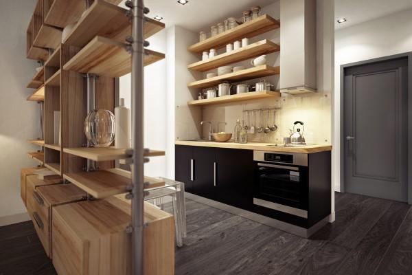 малко студио с дървена преграда от шкафове_6