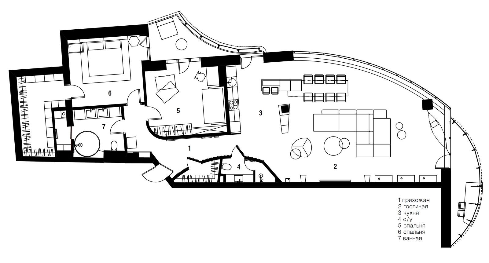 панорамни прозорци и свобода в просторния градски апартамент_план
