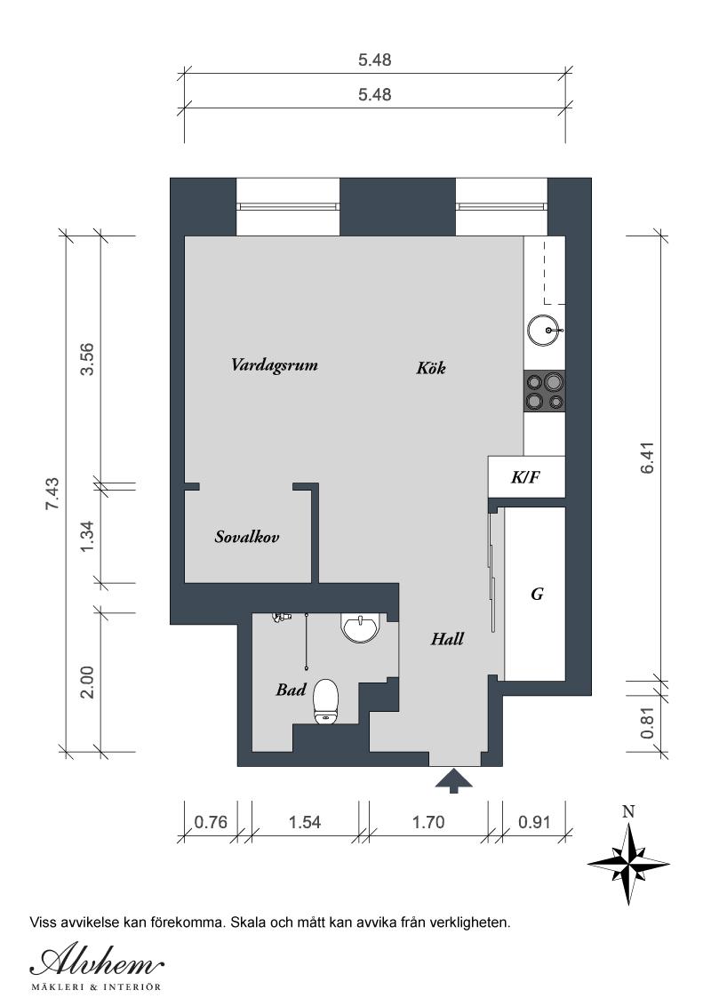 35 кв. м_идеи за едностаен апартамент_разпределение
