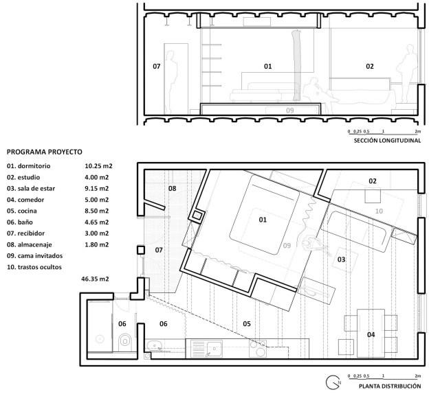Нестандартно отделената спалня в 48 кв. м жилище_разпределение 2