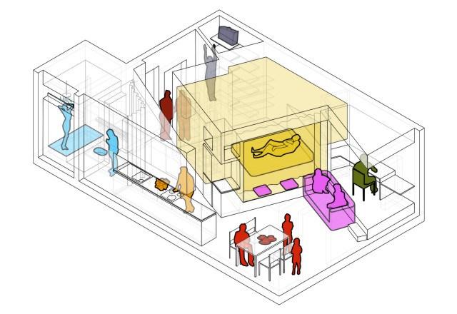 Нестандартно отделената спалня в 48 кв. м жилище_разпределение
