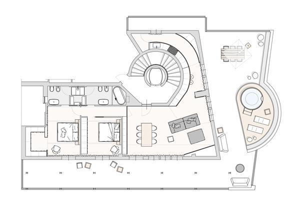 бяло и дърво_елегантен апартамент в Италия_разпределение