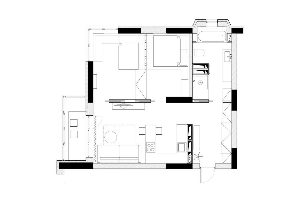 56 кв. м апартамент прави чудеса с площта си_разположение