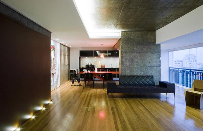 бетон и дърво интериор от Бразилия_1