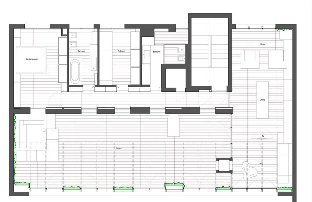вертикални градини и джакузи на терасата_план